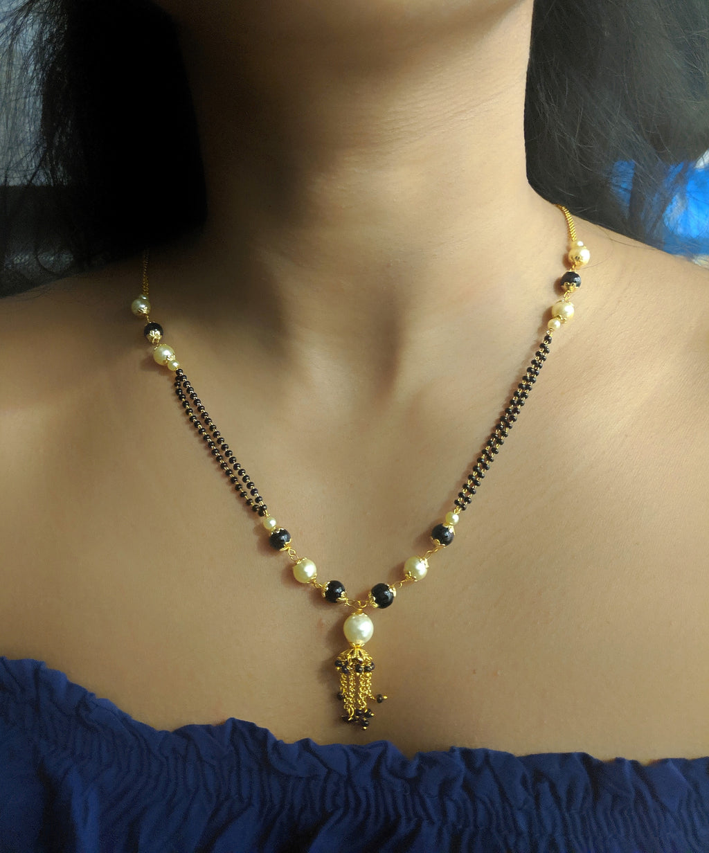 Short Mangalsutra Designs Gold Plated Latest White Black Pearl Mangalsutra - DigitalDressRoom