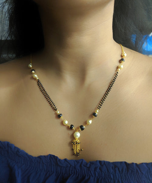 Digital Dress Room Short Mangalsutra Designs Gold Plated Latest White Black Pearl Mangalsutra