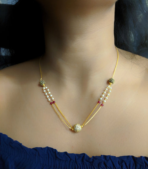 Digital Dress Room Short Mangalsutra Designs Gold Plated Latest Round Mani Stone White Pearl Multi Strand Mangalsutra