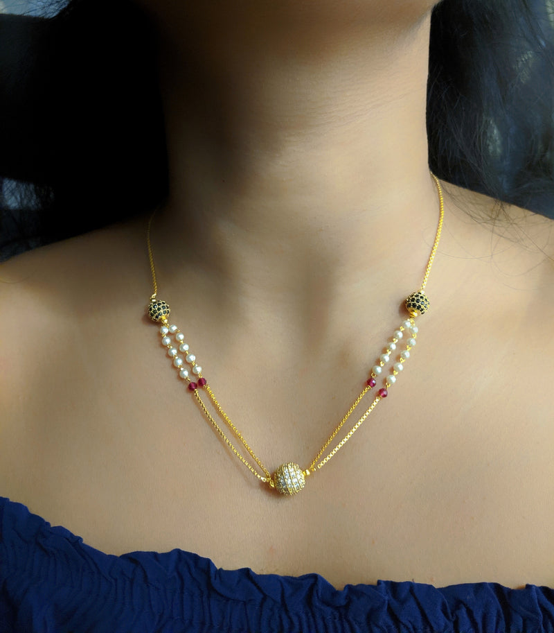 Short Mangalsutra Designs Gold Plated Latest Round Mani Stone White Pearl Multi Strand Mangalsutra - DigitalDressRoom
