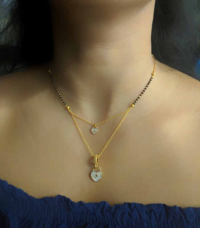 Digital Dress Room Short Mangalsutra Designs Gold Plated Latest Diamond Heart Locket 2 Layer Mangalsutra