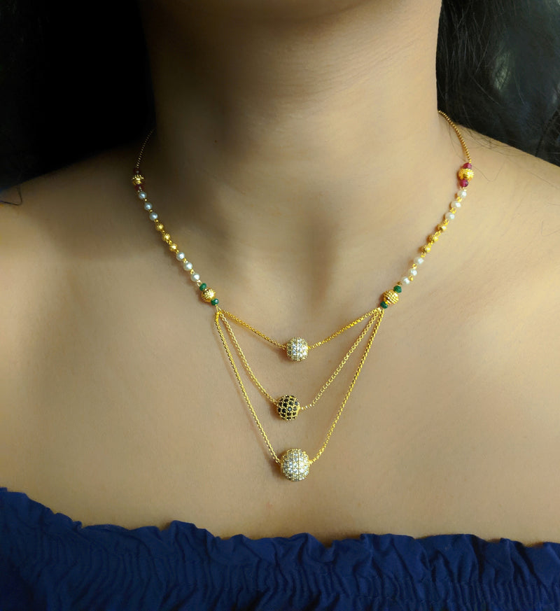 Short Mangalsutra Designs Gold Plated Latest Diamond Round Balls 3 Layer Mangalsutra - DigitalDressRoom