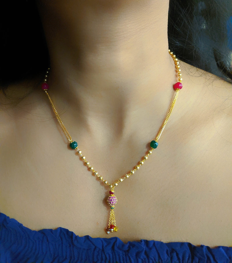 Short Mangalsutra Designs Gold Plated Latest Multicolor Round Mani Mangalsutra - DigitalDressRoom
