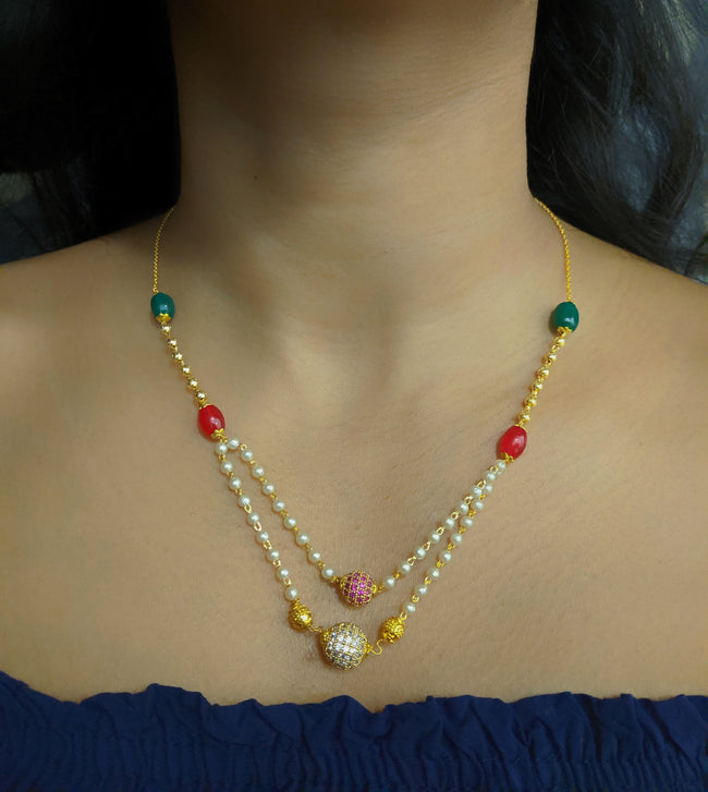 Digital Dress Room Latest Short Necklace Designs in Gold Finish Diamomnd Round Balls 2 Layer Necklace