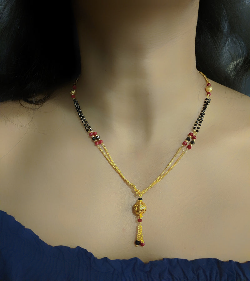 Short Mangalsutra Designs Gold Plated Latest Round Mani Red Latkan Mangalsutra - DigitalDressRoom