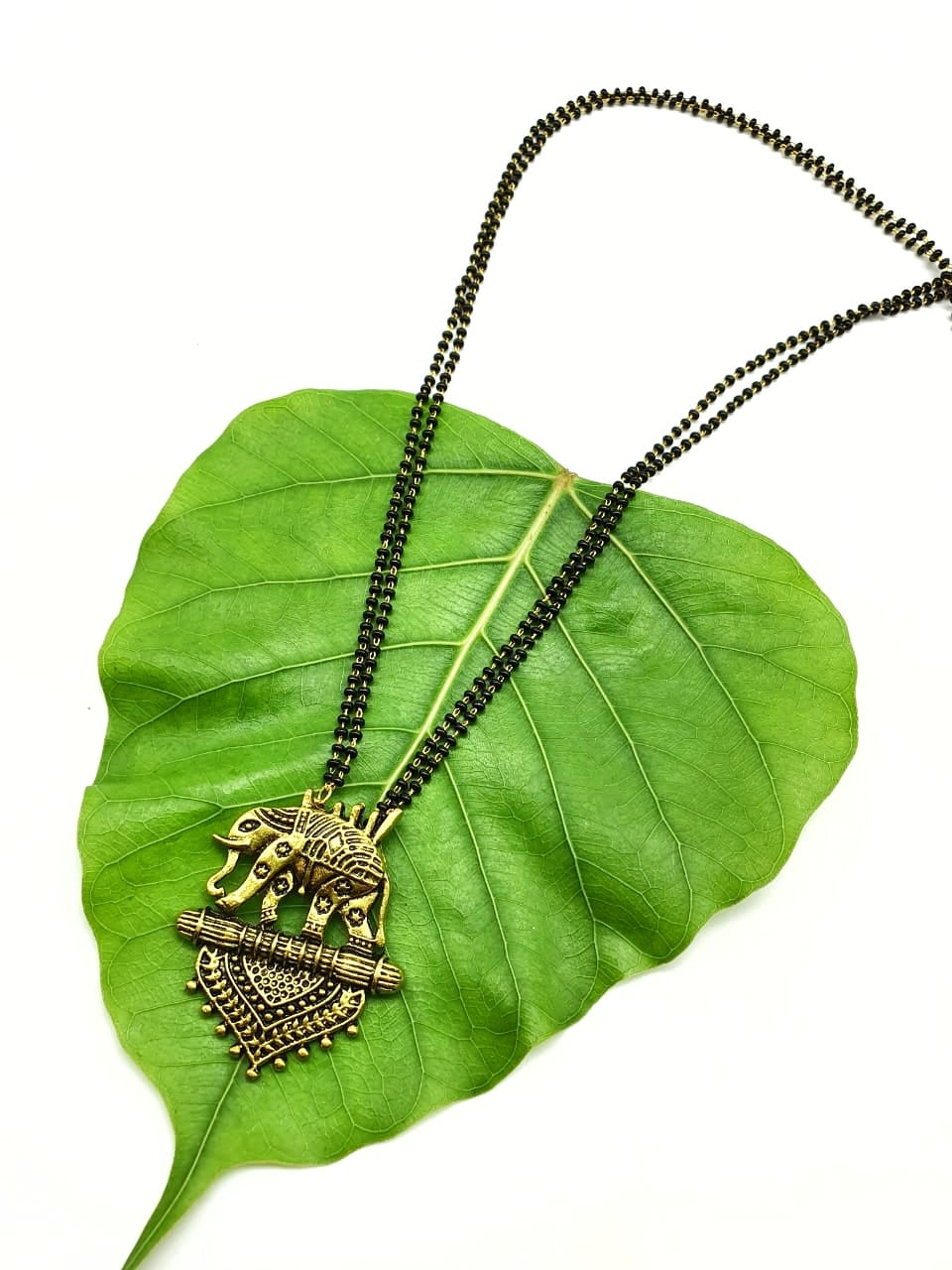 Long Mangalsutra Designs Gold Plated Latest Antique Elephant Pendant Mangalsutra - DigitalDressRoom