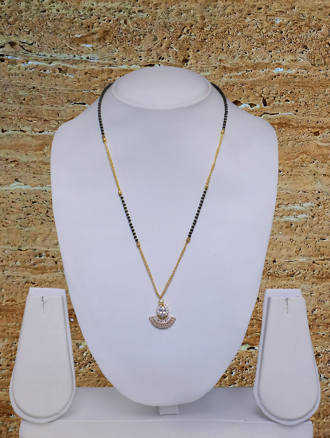 Digital Dress Room Short Mangalsutra Designs Gold Plated Latest American Diamond Pendant 20 Inches Mangalsutra