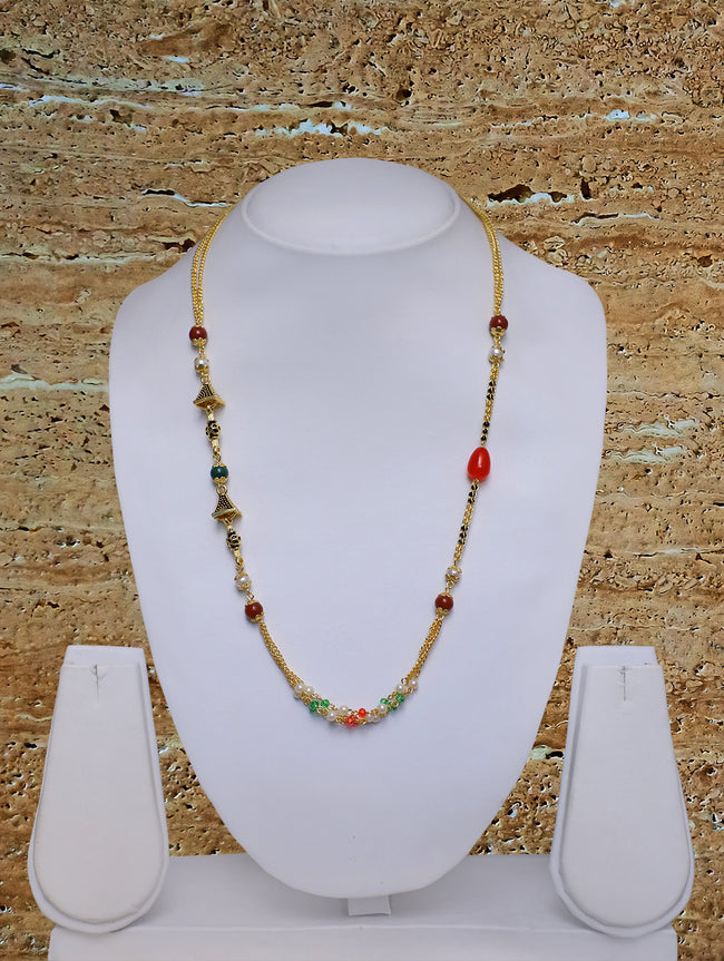 Digital Dress Room Long Mangalsutra Designs Gold Plated Latest Multi-color Pearls 21 Inches Mangalsutra