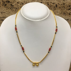 Traditional Gold Plated Vati Pendant Auspicious Orange Coral Beads Single Layer Short Mangalsutra