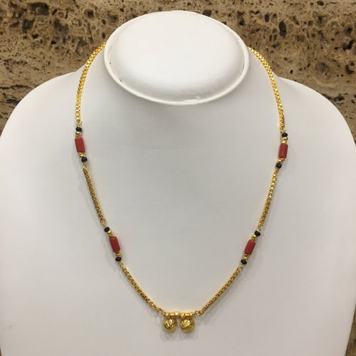 Digital Dress Room Short Mangalsutra Designs Gold Plated Latest 2 Vati Pendant Coral & Black Beads Mangalsutra