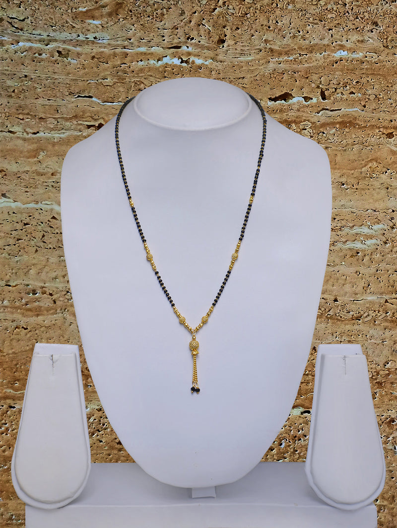 Digital Dress Room Short Mangalsutra Designs Gold Plated Latest Black Bead Golden Mani Latkan 18 Inches Mangalsutra