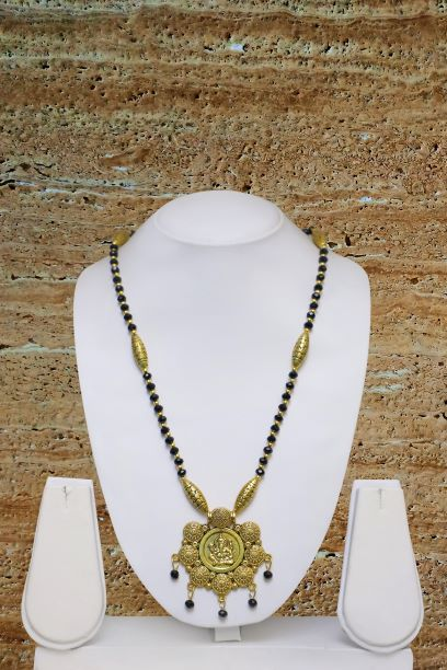Digital Dress Room Long Mangalsutra Designs Gold Plated Latest Big Crystal Black Beads Chain Lord Ganesha Pendant Oxidized 30 Inches Mangalsutra