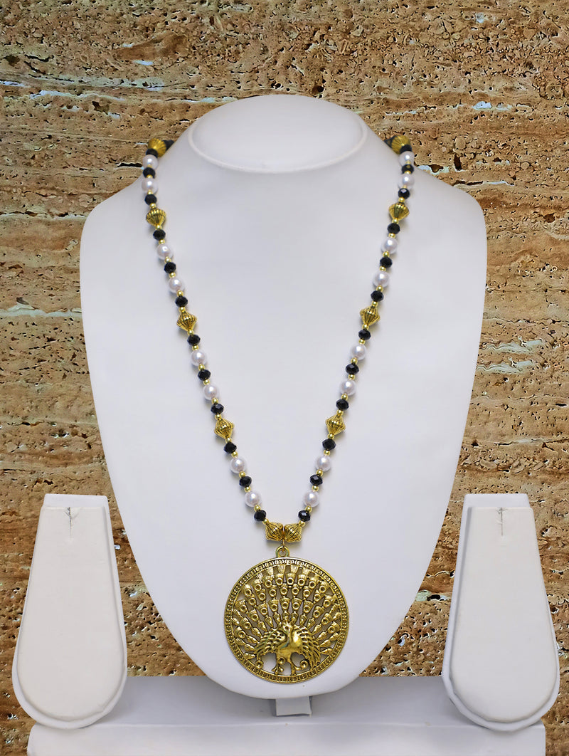Digital Dress Room Long Mangalsutra Designs Gold Plated Latest Big Crystal Black Beads Chain Peacock Pendant Oxidized 30 Inches Mangalsutra