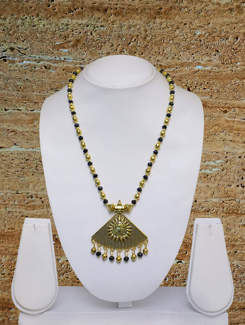 Digital Dress Room Long Mangalsutra Designs Gold Plated Latest Big Crystal Black Beads Chain Lord Ganesha Triangle Pendant Oxidized 30 Inches Mangalsutra