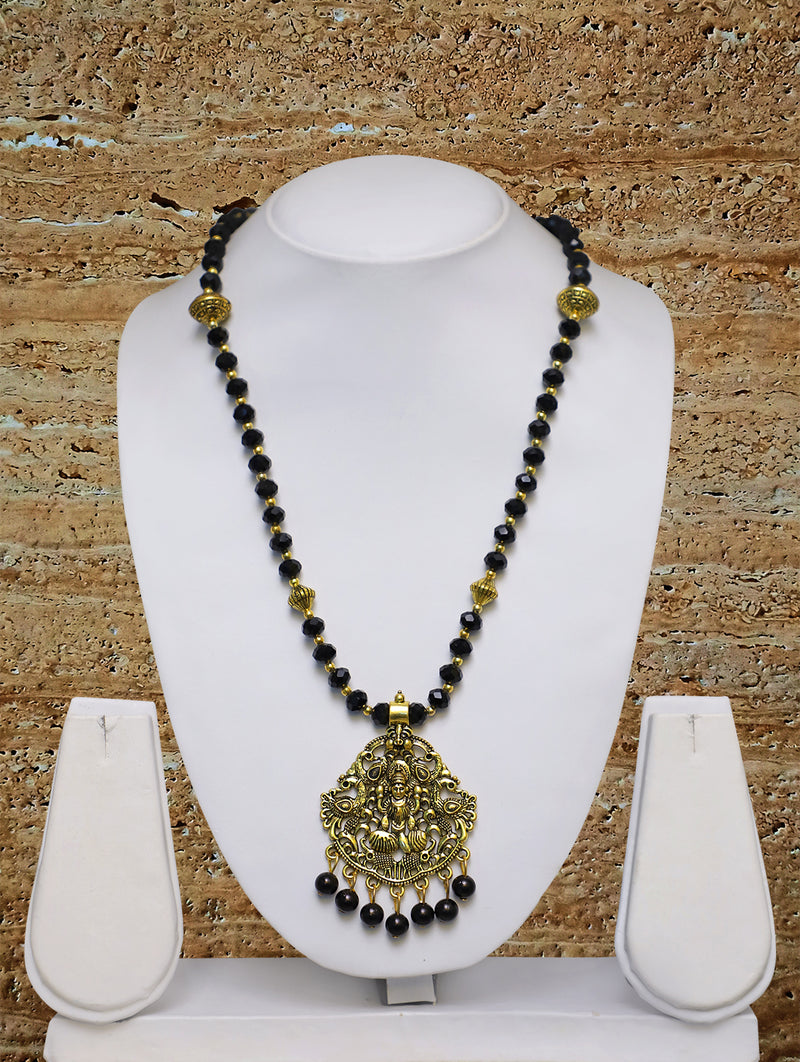 Digital Dress Room Long Mangalsutra Designs Gold Plated Latest Big Crystal Black Beads Chain Laxmi Pendant Oxidized 28 Inches Mangalsutra