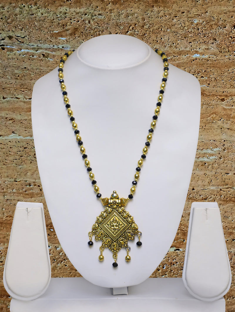Digital Dress Room Long Mangalsutra Designs Gold Plated Latest Big Crystal Beads Chain Oxidized Laxmi Pendant 28 Inches Mangalsutra