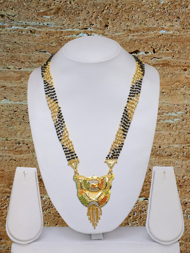 Long Mangalsutra Designs Gold Plated Latest 5 Layer Gold & Black Beads Chain Traditional Pendant 32 Inches Mangalsutra