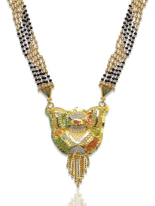 Digital Dress Room Long Mangalsutra Designs Gold Plated Latest 5 Layer Gold & Black Beads Chain Traditional Pendant 32 Inches Mangalsutra