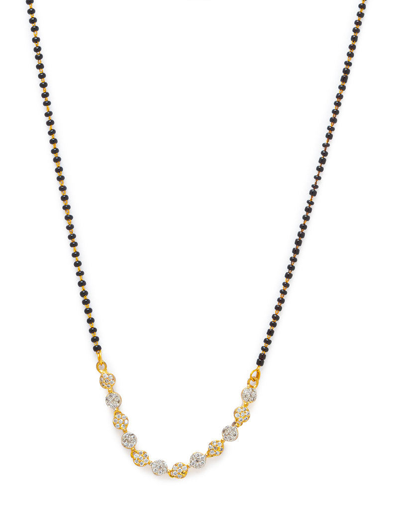 Digital Dress Room Digital Dress Room Diamond Gold Plated Short Mangalsutra मंगलसूत्र Latest Design/Cz Solitaire/Black Beads Chain New Mangalsutra Designs For Women (20 Inches)
