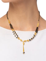 Digital Dress Room Digital Dress Room One Gram Gold Plated Short Mangalsutra मंगलसूत्र Latest Design Tanmaniya/Black Gold Beads New Mangalsutra Designs For Women (17 Inches)
