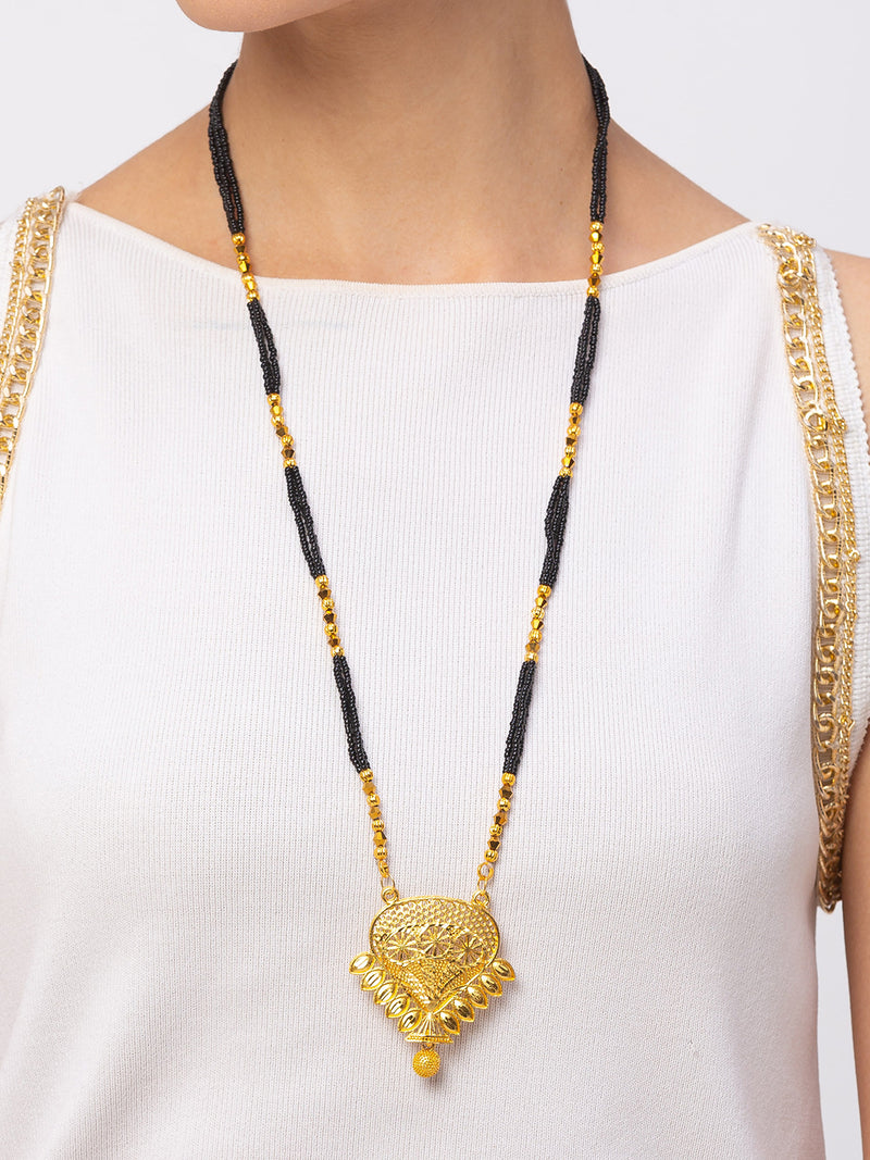 Digital Dress Room Digital Dress Room One Gram Gold Plated Long Mangalsutra मंगलसूत्र Latest Design Tanmaniya/Long Gold Chain/Black Gold Beads New Mangalsutra Designs For Women (31 Inch)