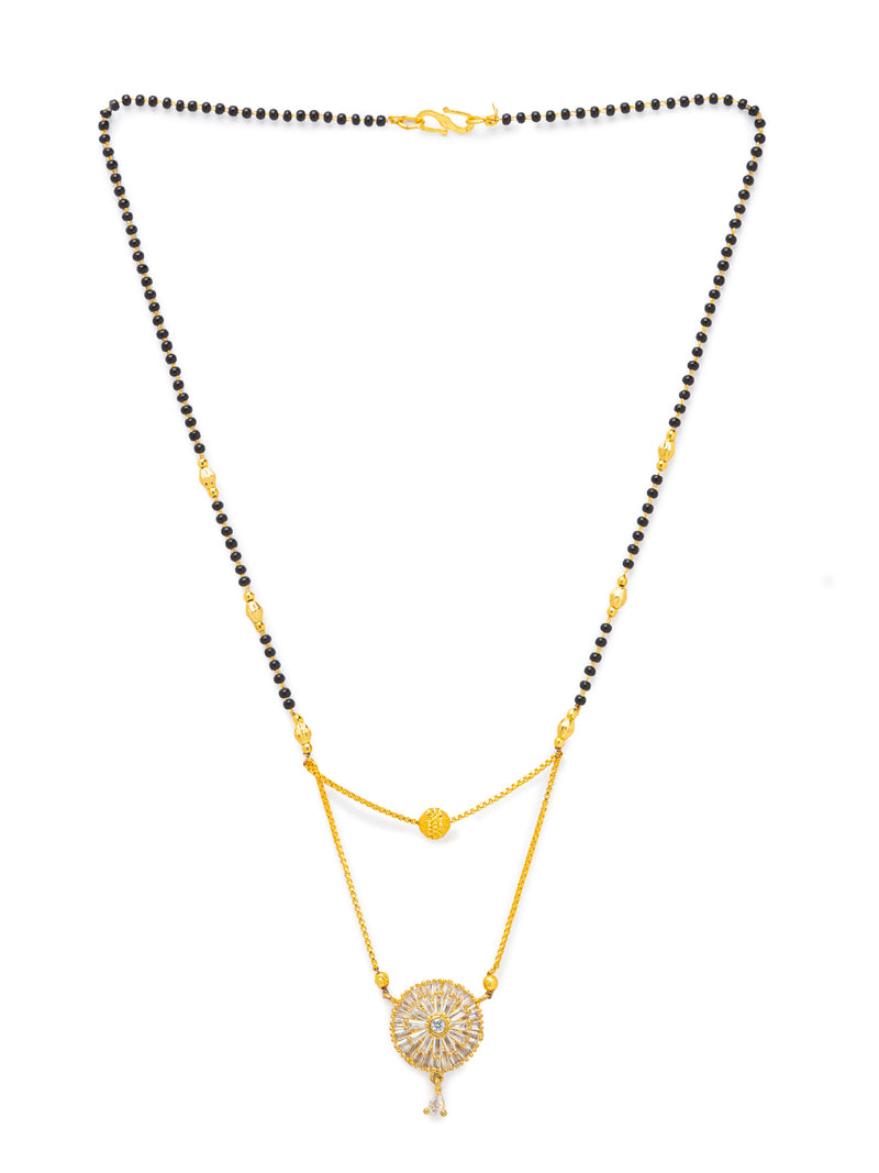 Digital Dress Room Digital Dress Room Diamond Gold Plated Short Mangalsutra मंगलसूत्र Latest Design/Cz Solitaire/Black Beads Chain Round Shape Pendant New Mangalsutra Designs For Women (22 Inches)