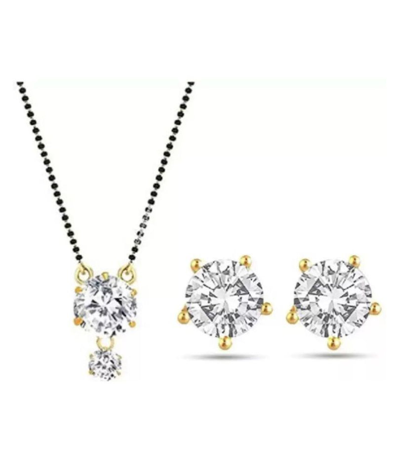 Digital Dress Room Short Mangalsutra Designs Gold Plated Latest American Diamond Round Pendant Mangalsutra & Earrings