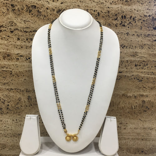 Digital Dress Room Long Mangalsutra Designs Gold Plated Latest 2 Vati Pendant Black & Gold Beads 2 Layer Mangalsutra