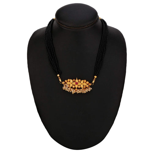 Digital Dress Room Short Mangalsutra Designs Gold Plated Latest Antique Designer Pendant Thushi Kolhapuri Mangalsutra