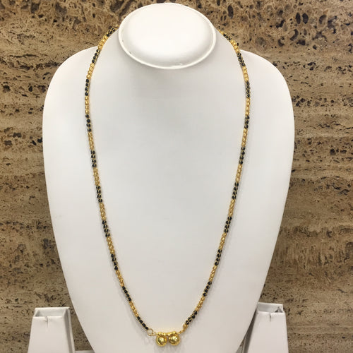 Digital Dress Room Long Mangalsutra Designs Gold Plated Latest 2 Vati Pendant Black & Gold Beads Single Line Mangalsutra