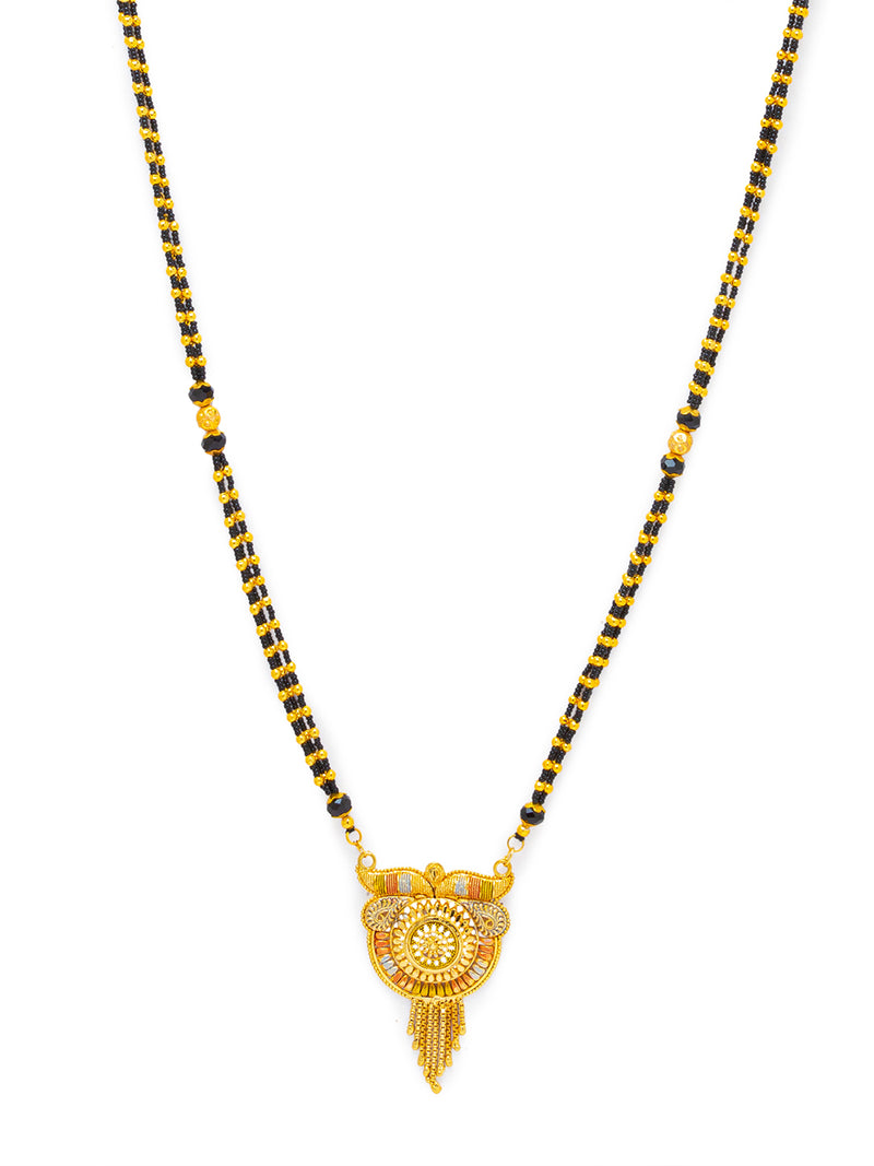 Digital Dress Room Digital Dress Room One Gram Gold Plated Long Mangalsutra मंगलसूत्र Latest Design Tanmaniya/Long Gold Chain/Black Gold Beads New Mangalsutra Designs For Women (43 Inch)