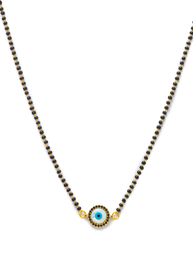 Digital Dress Room Digital Dress Room Evil Eye Gold Plated Short Mangalsutra मंगलसूत्र Latest Design Tanmaniya/Black Beads New Mangalsutra Designs For Women (17 Inches)