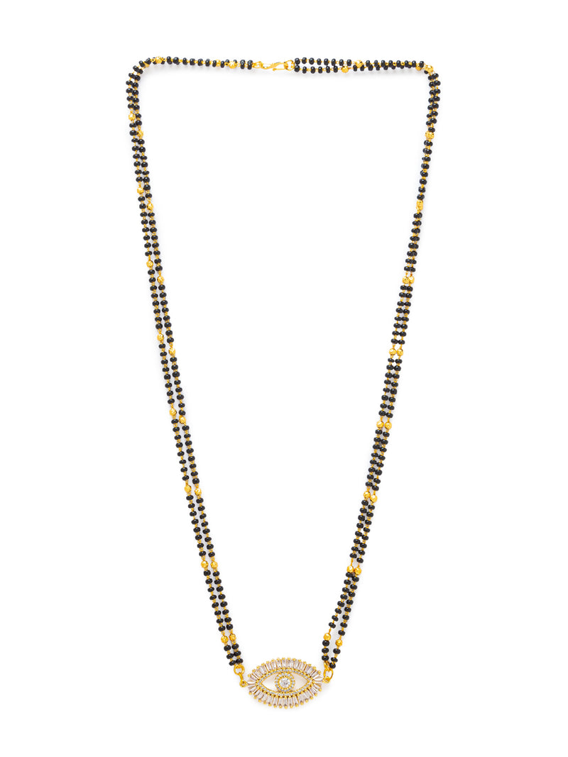 Digital Dress Room Digital Dress Room Diamond Gold Plated Long Mangalsutra मंगलसूत्र Latest Design/Cz Solitaire/Black Beads Chain New Mangalsutra Designs For Women (24 Inches)
