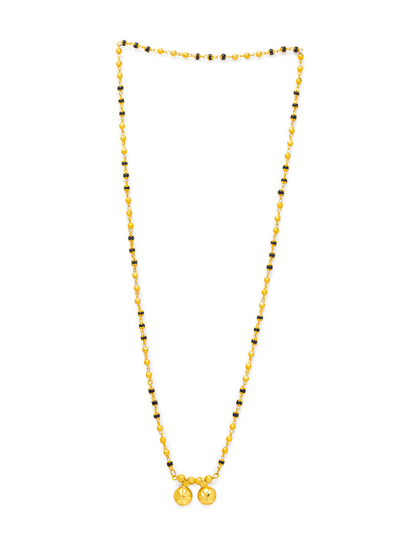 Digital Dress Room Digital Dress Room One Gram Gold Plated Long Mangalsutra मंगलसूत्र Latest Design Tanmaniya/Long Gold Chain/Black Gold Beads New Mangalsutra Designs For Women (28 Inches)