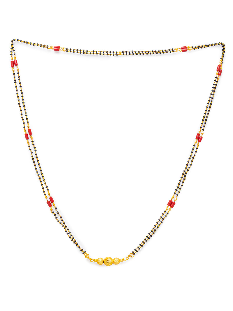 Digital Dress Room Digital Dress Room One Gram Gold Plated Long Mangalsutra मंगलसूत्र Latest Design Tanmaniya/Long Gold Chain/Black Red Beads New Mangalsutra Designs For Women (30 Inches)