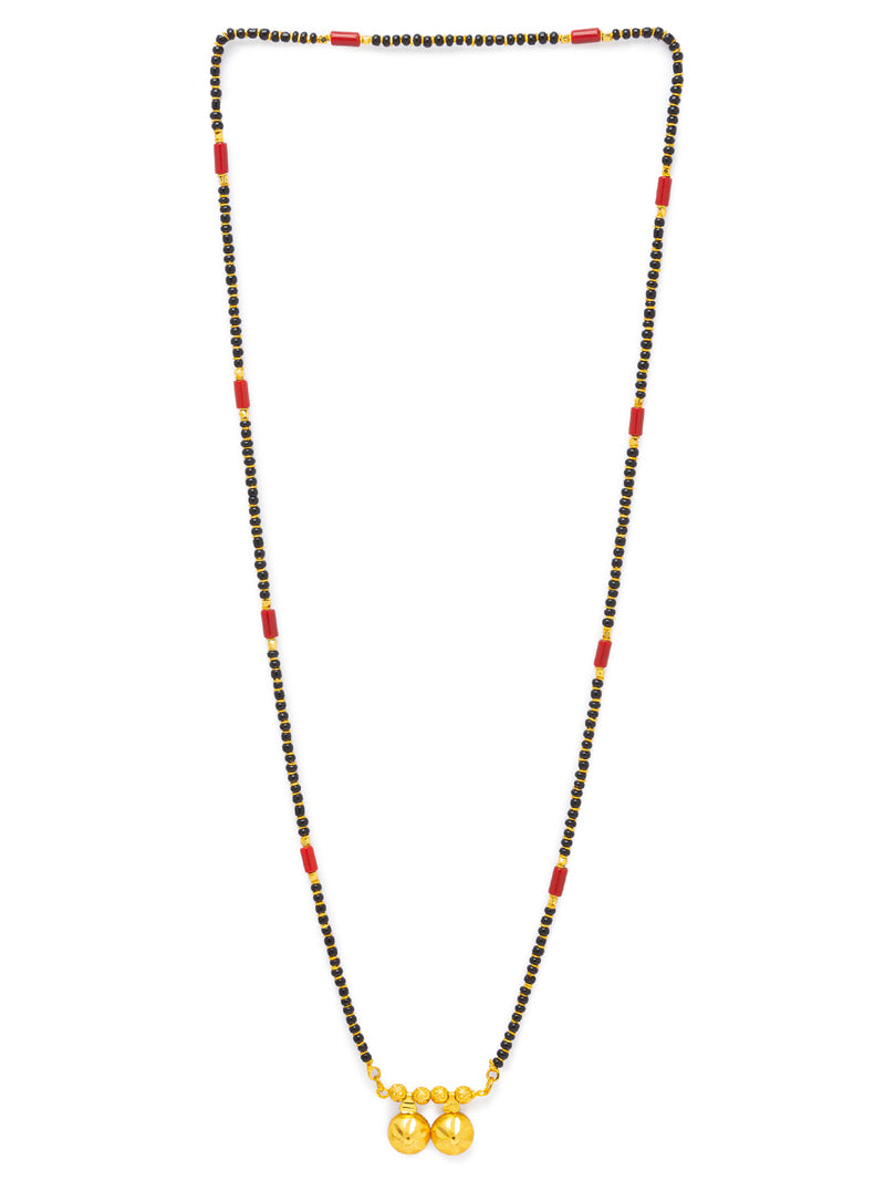 Digital Dress Room Digital Dress Room One Gram Gold Plated Long Mangalsutra मंगलसूत्र Latest Design Tanmaniya/Long Gold Chain/Black Red Beads Vati Pendant New Mangalsutra Designs For Women (29 Inches)