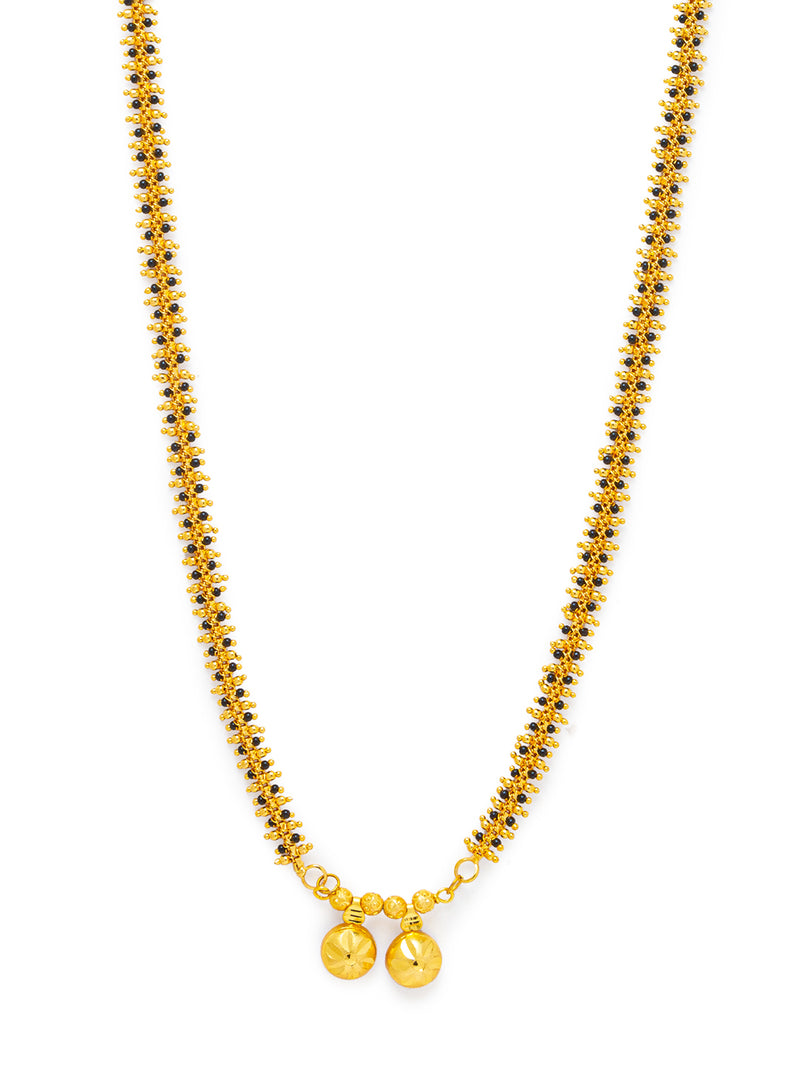 Digital Dress Room Digital Dress Room One Gram Gold Plated Long Mangalsutra मंगलसूत्र Latest Design Tanmaniya/Long Gold Chain/Black Gold Beads New Mangalsutra Designs For Women (27 Inches)