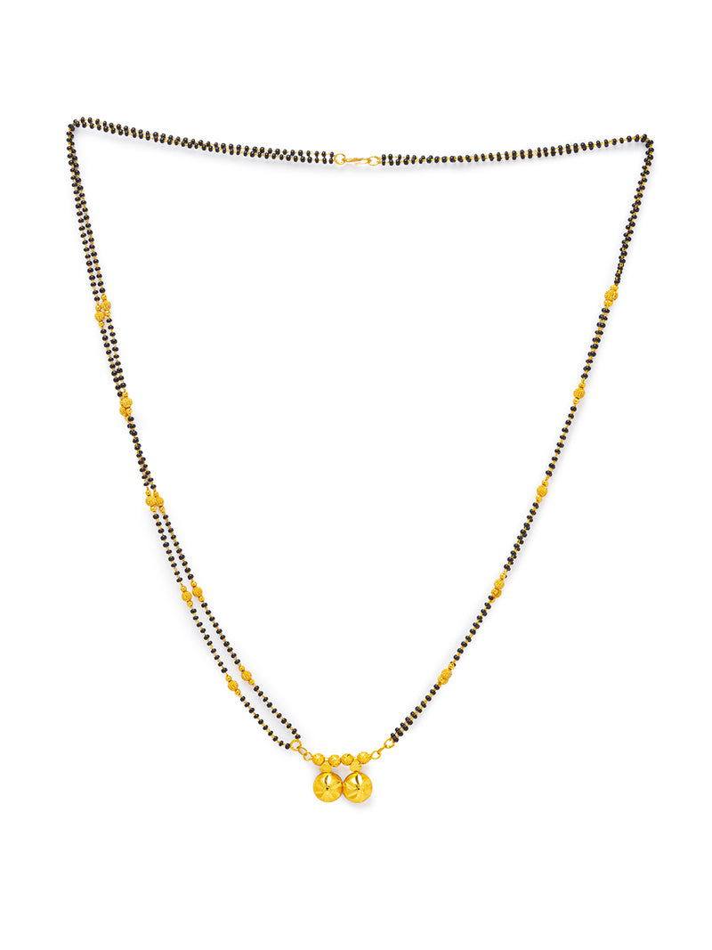 Digital Dress Room Digital Dress Room One Gram Gold Plated Long Mangalsutra मंगलसूत्र Latest Design Tanmaniya/Long Gold Chain/Black Beads Vati Pendant New Mangalsutra Designs For Women (32 Inches)