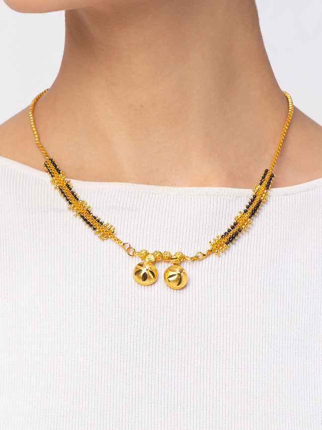 Digital Dress Room Digital Dress Room One Gram Gold Plated Short Mangalsutra मंगलसूत्र Latest Design Tanmaniya/Short Gold Chain/Black Beads New Mangalsutra Designs For Women (18 Inches)