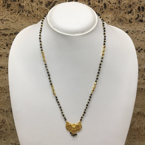 Traditional Gold Plated Pendant Black & Gold Beads Single Layer Mangalsutra