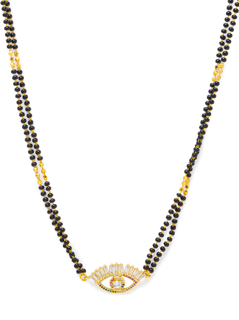 Digital Dress Room Digital Dress Room Diamond Gold Plated Short Mangalsutra मंगलसूत्र Latest Design/Cz Solitaire/Black Beads Chain New Mangalsutra Designs For Women (18 Inches)