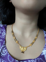 Digital Dress Room Short Mangalsutra Designs Gold Plated Latest Black & Gold Beads Single Layer Mangalsutra