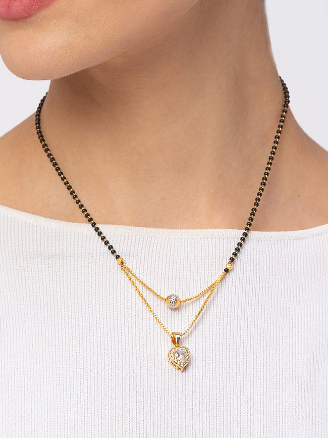 Digital Dress Room Digital Dress Room Diamond Gold Plated Short Mangalsutra मंगलसूत्र Latest Design/Cz Solitaire/Black Beads Chain Heart Love Shape Pendant New Mangalsutra Designs For Women (18 Inches)