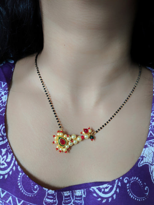 Digital Dress Room Short Mangalsutra Designs Gold Plated Latest Nath Pendant Mangalsutra