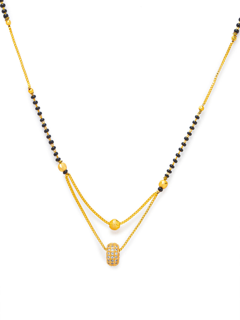 Digital Dress Room Digital Dress Room Diamond Gold Plated Short Mangalsutra मंगलसूत्र Latest Design/Cz Solitaire/Black Beads Chain Round Shape Pendant New Mangalsutra Designs For Women (19 Inches)