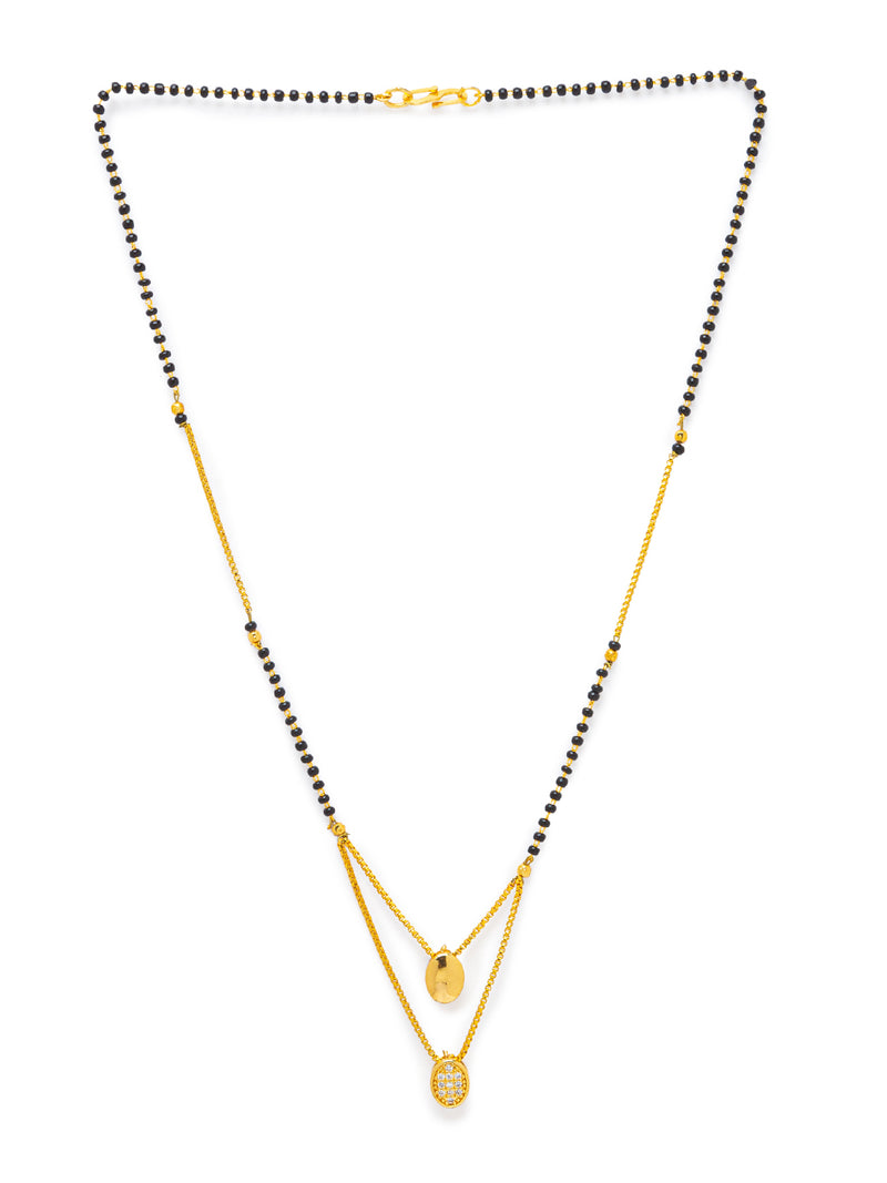Digital Dress Room Digital Dress Room Diamond Gold Plated Short Mangalsutra मंगलसूत्र Latest Design/Cz Solitaire/Black Beads Chain Heart Love Shape Pendant  New Mangalsutra Designs For Women (20 Inches)