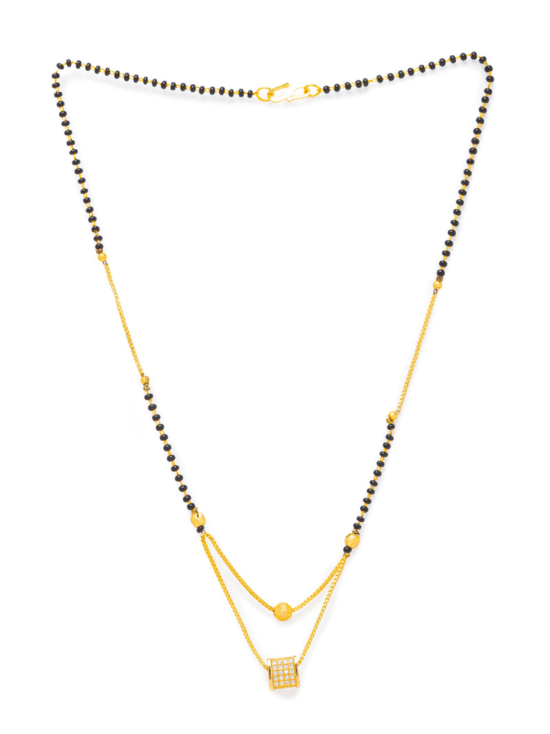 Digital Dress Room Digital Dress Room Diamond Gold Plated Short Mangalsutra मंगलसूत्र Latest Design/Cz Solitaire/Black Beads Chain Triangle Shape Pendant New Mangalsutra Designs For Women (19 Inches)