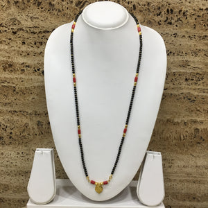 Traditional Gold Plated Vati Pendant Black Orange Coral Beads Single Layer Mangalsutra