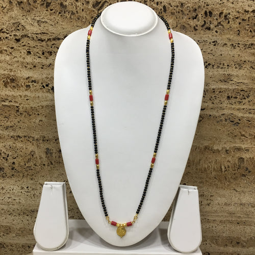 Digital Dress Room Long Mangalsutra Designs Gold Plated Latest Vati Pendant Black Orange Coral Beads Single Layer Mangalsutra