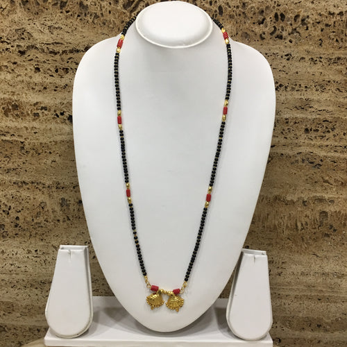 Digital Dress Room Long Mangalsutra Designs Gold Plated Latest 2 Vati Pendant Black Beads & Coral Mangalsutra